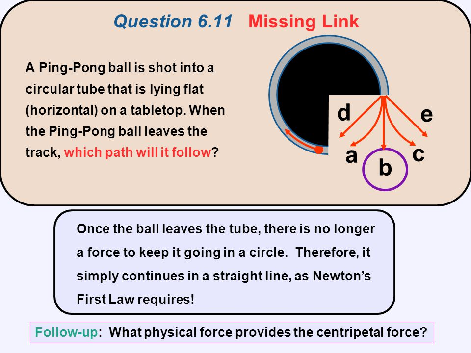 Question 6.11 Missing Link Once the ball leaves the tube, there is no longer a force to keep it going in a circle. Therefore, it simply continues in a