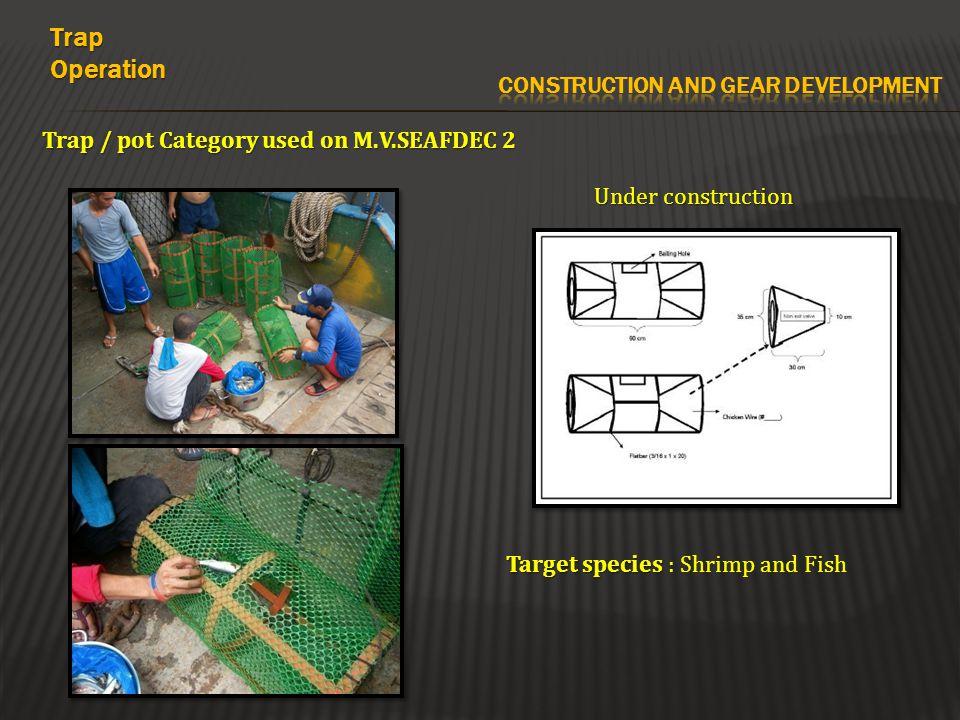 Trap / pot Category used on M.V.SEAFDEC 2 Under construction TrapOperation Target species Target species : Shrimp and Fish
