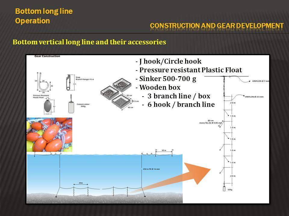 Bottom vertical long line and their accessories Bottom long line Operation - J hook/Circle hook - Pressure resistant Plastic Float - Sinker 500-700 g