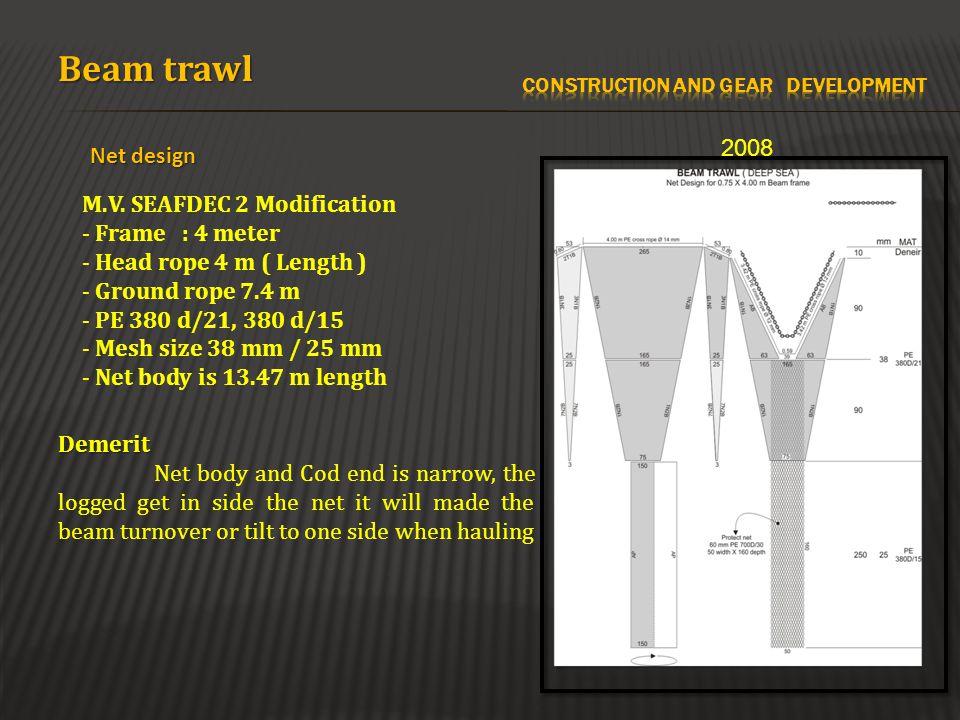 Beam trawl Net design 2008 M.V. SEAFDEC 2 Modification - Frame : 4 meter - Head rope 4 m ( Length ) - Ground rope 7.4 m - PE 380 d/21, 380 d/15 - Mesh