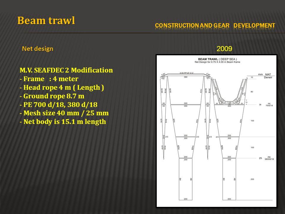 Beam trawl Net design M.V. SEAFDEC 2 Modification - Frame : 4 meter - Head rope 4 m ( Length ) - Ground rope 8.7 m - PE 700 d/18, 380 d/18 - Mesh size