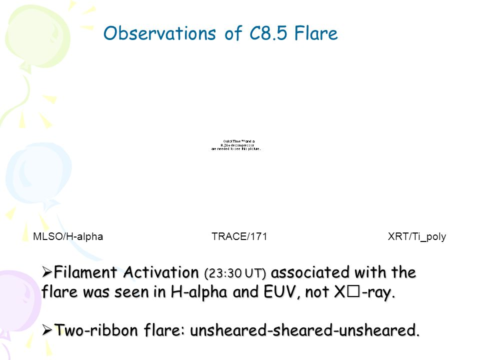 Observations of C8.5 Flare MLSO/H-alpha TRACE/171 XRT/Ti_poly  Filament Activation (23:30 UT) associated with the flare was seen in H-alpha and EUV, not X-ray.