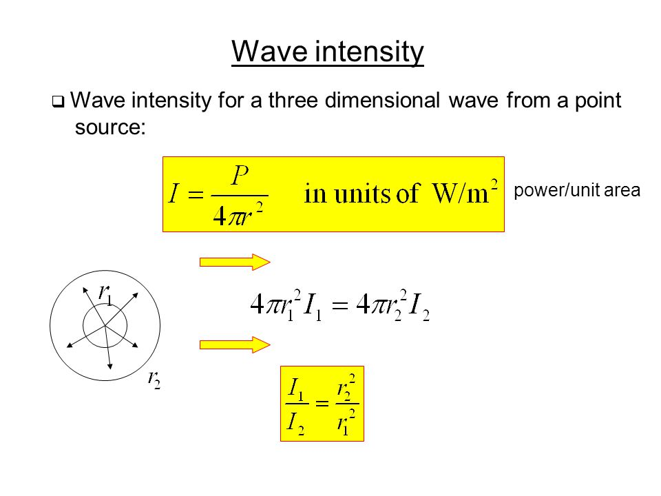 Wave intensity  Wave intensity for a three dimensional wave from a point source: power/unit area