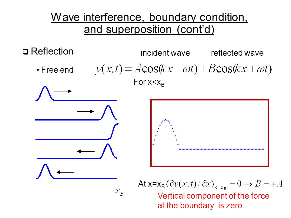 Wave interference, boundary condition, and superposition (cont'd)  Reflection Free end For x<x B At x=x B incident wavereflected wave Vertical component of the force at the boundary is zero.