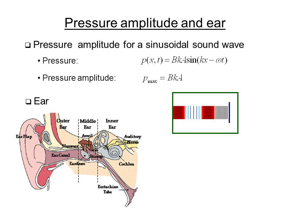 Pressure amplitude and ear  Pressure amplitude for a sinusoidal sound wave Pressure: Pressure amplitude:  Ear