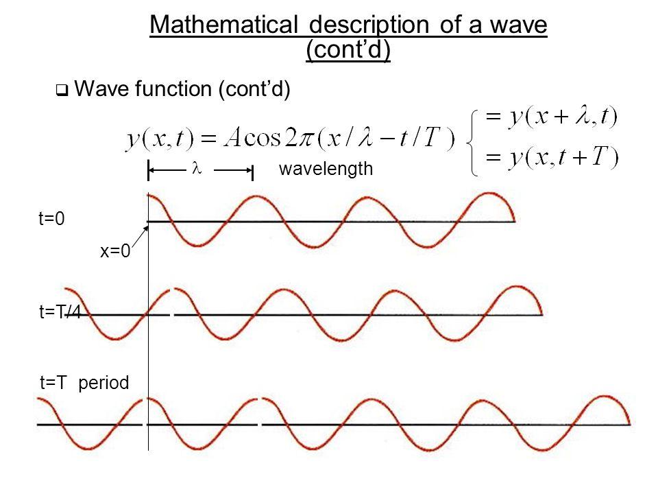 Mathematical description of a wave (cont'd)  Wave function (cont'd) x=0 x t=0 t=T/4 t=Tperiod wavelength