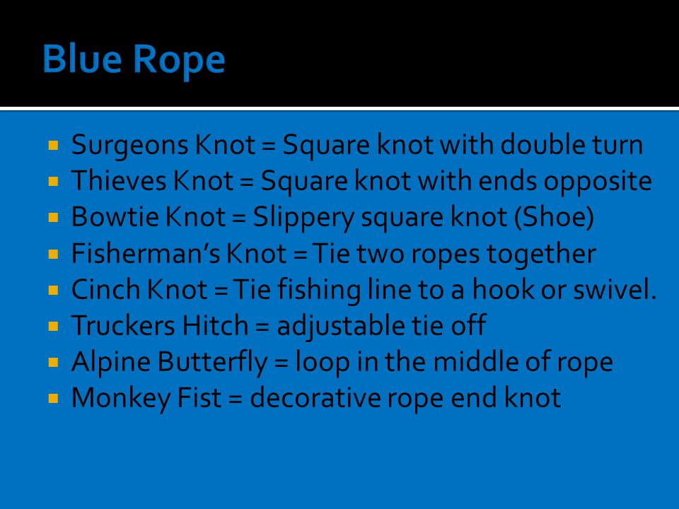  Surgeons Knot = Square knot with double turn  Thieves Knot = Square knot with ends opposite  Bowtie Knot = Slippery square knot (Shoe)  Fisherman