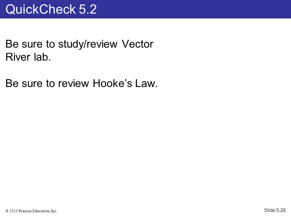© 2013 Pearson Education, Inc.Be sure to study/review Vector River lab.