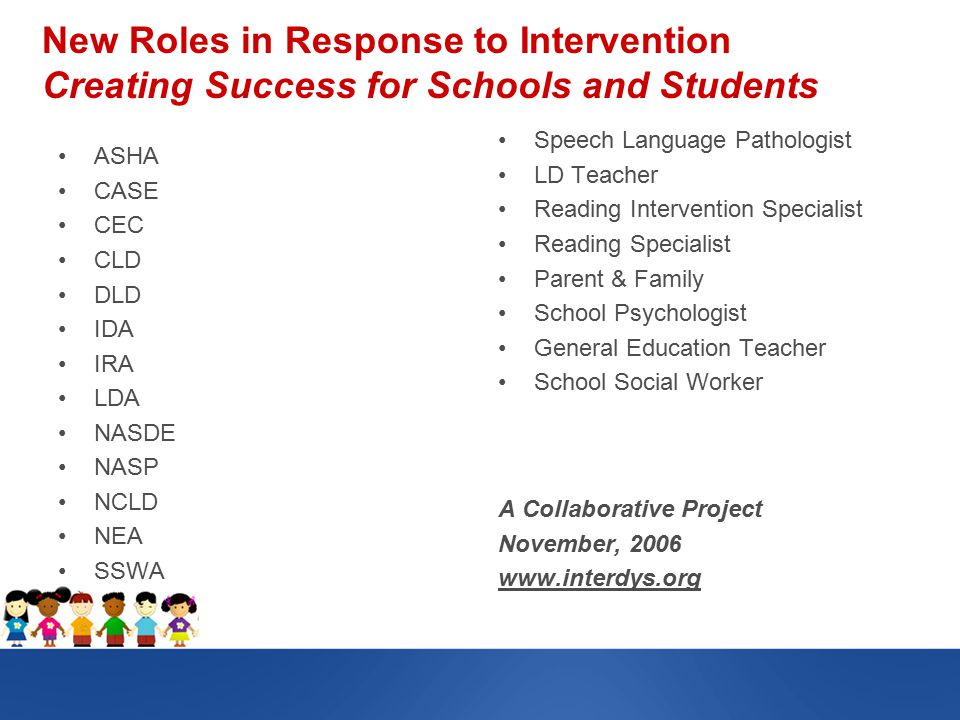 New Roles in Response to Intervention Creating Success for Schools and Students ASHA CASE CEC CLD DLD IDA IRA LDA NASDE NASP NCLD NEA SSWA Speech Language Pathologist LD Teacher Reading Intervention Specialist Reading Specialist Parent & Family School Psychologist General Education Teacher School Social Worker A Collaborative Project November, 2006 www.interdys.org