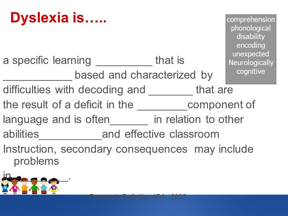 Dyslexia is…..