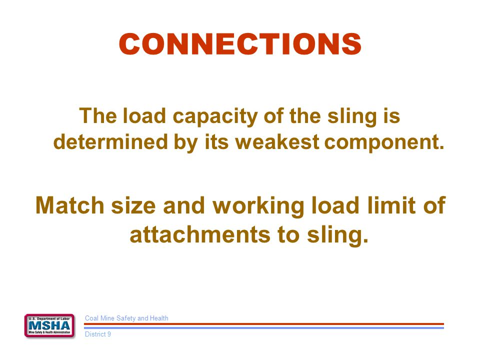 CONNECTIONS The load capacity of the sling is determined by its weakest component.