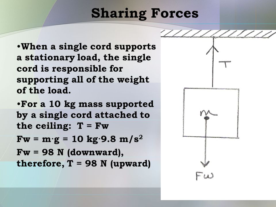 Sharing Forces When a single cord supports a stationary load, the single cord is responsible for supporting all of the weight of the load. For a 10 kg