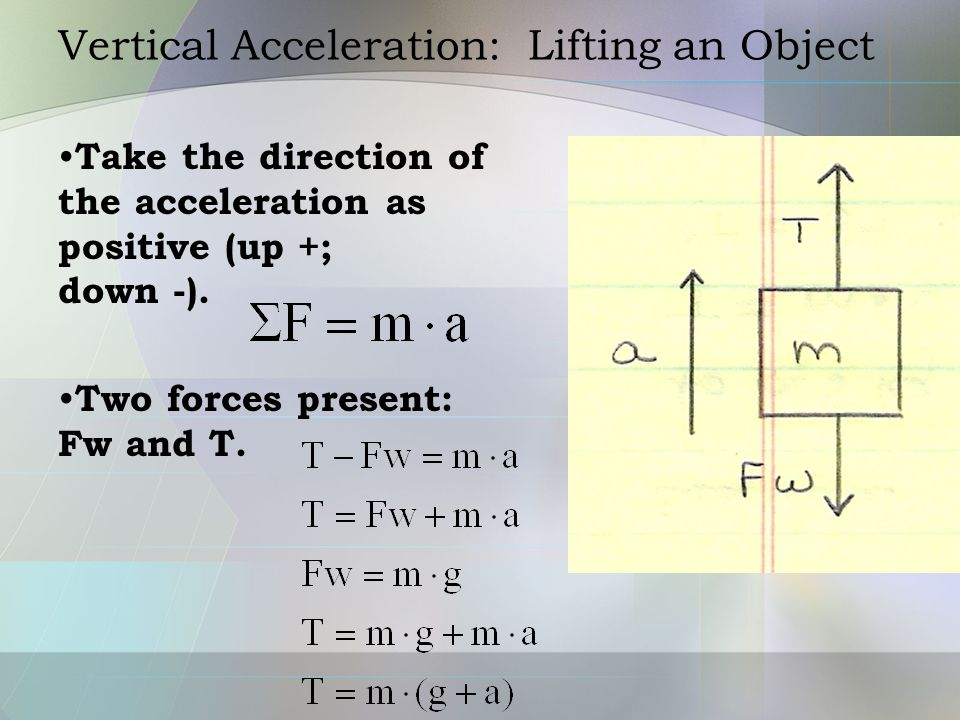 Vertical Acceleration: Lifting an Object Example: determine the tension in the cord attached to a 5 kg mass when the upward acceleration is 2 m/s 2.