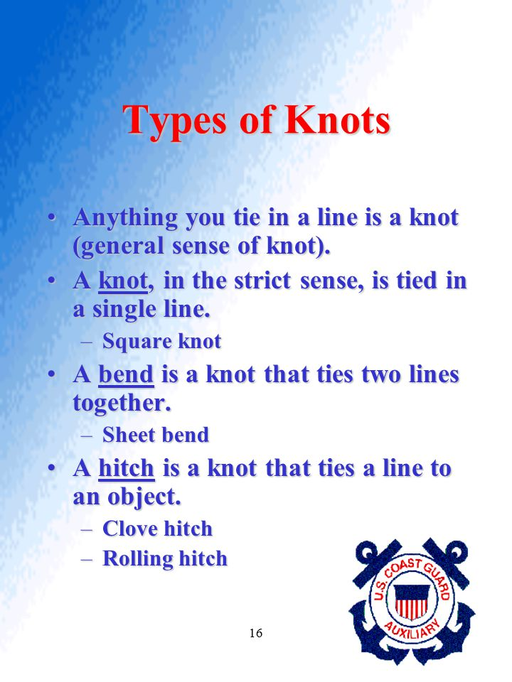 16 Types of Knots Anything you tie in a line is a knot (general sense of knot).Anything you tie in a line is a knot (general sense of knot). A knot, i