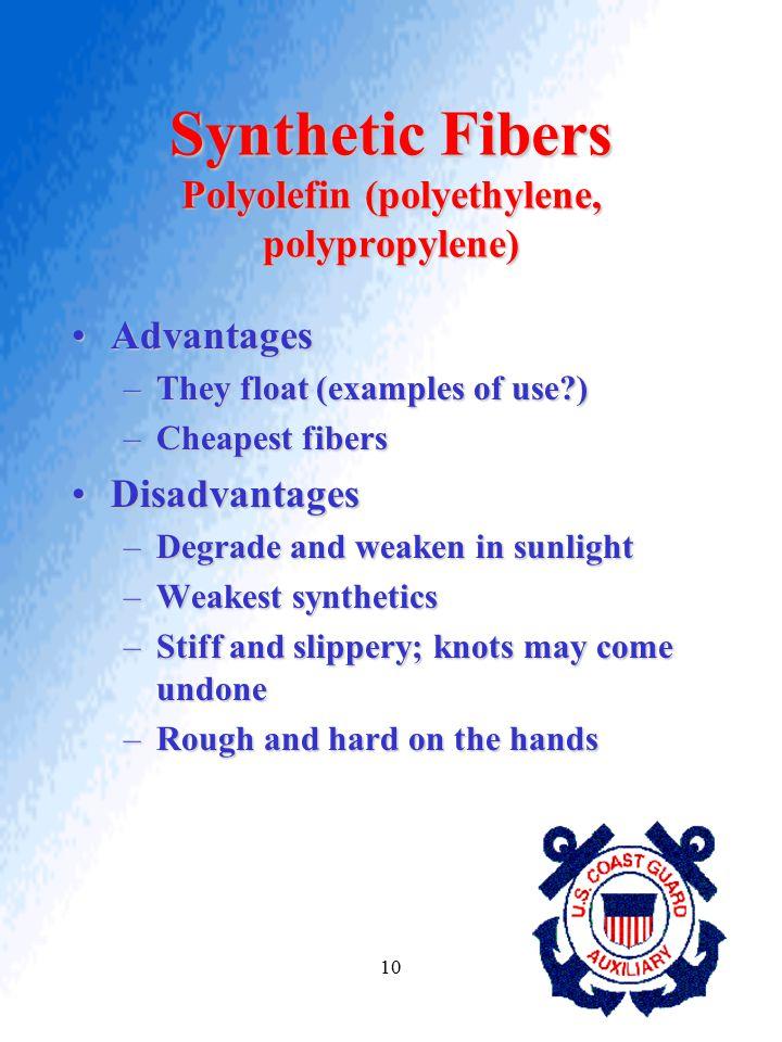 10 Synthetic Fibers Polyolefin (polyethylene, polypropylene) AdvantagesAdvantages –They float (examples of use?) –Cheapest fibers DisadvantagesDisadva