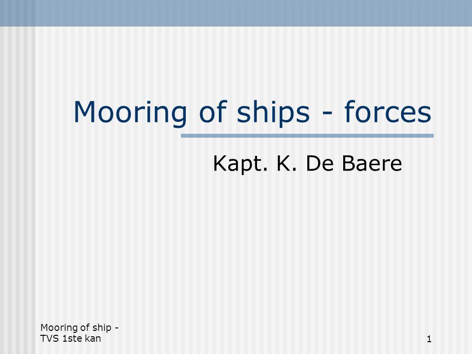 Mooring of ship - TVS 1ste kan1 Mooring of ships - forces Kapt. K. De Baere
