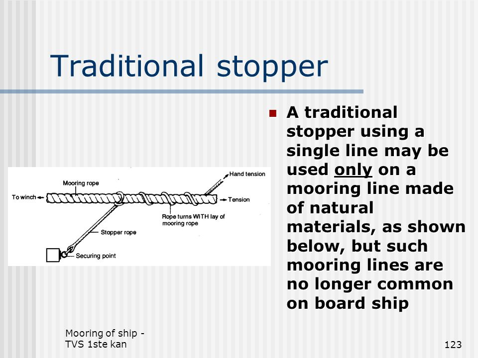 Mooring of ship - TVS 1ste kan123 Traditional stopper A traditional stopper using a single line may be used only on a mooring line made of natural mat