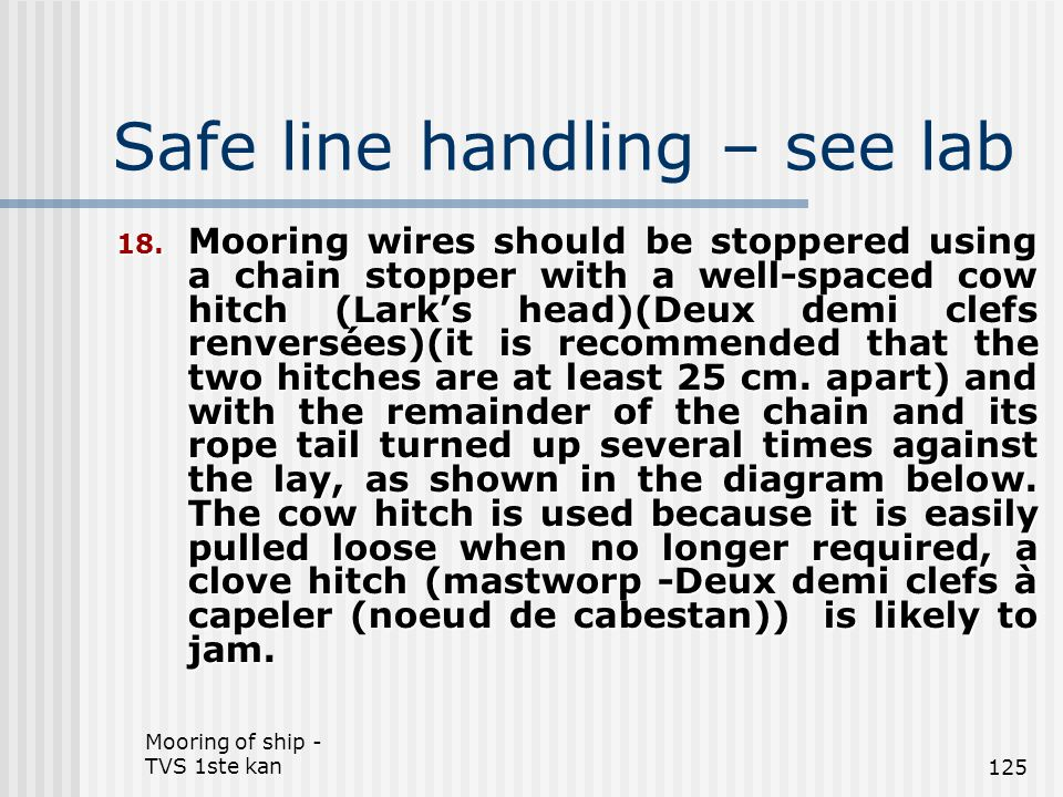 Mooring of ship - TVS 1ste kan125 Safe line handling – see lab 18. Mooring wires should be stoppered using a chain stopper with a well-spaced cow hitc