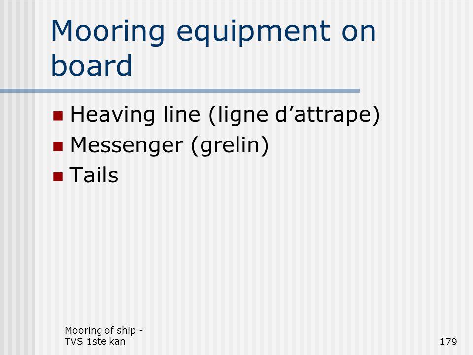 Mooring of ship - TVS 1ste kan179 Mooring equipment on board Heaving line (ligne d'attrape) Messenger (grelin) Tails