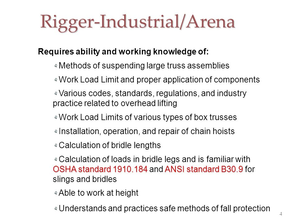 Rigger-Theatrical 5 Theatrical riggers must have a working knowledge of theatrical rigging systems, the hardware and its proper installation.