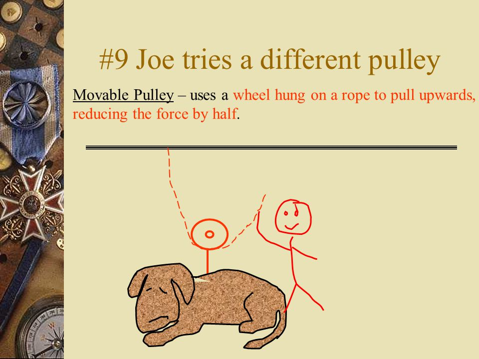 #9 Joe tries a different pulley Movable Pulley – uses a wheel hung on a rope to pull upwards, reducing the force by half.