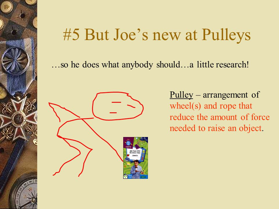 #5 But Joe's new at Pulleys …so he does what anybody should…a little research.