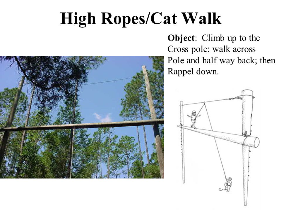 High Ropes/Cat Walk Object: Climb up to the Cross pole; walk across Pole and half way back; then Rappel down.