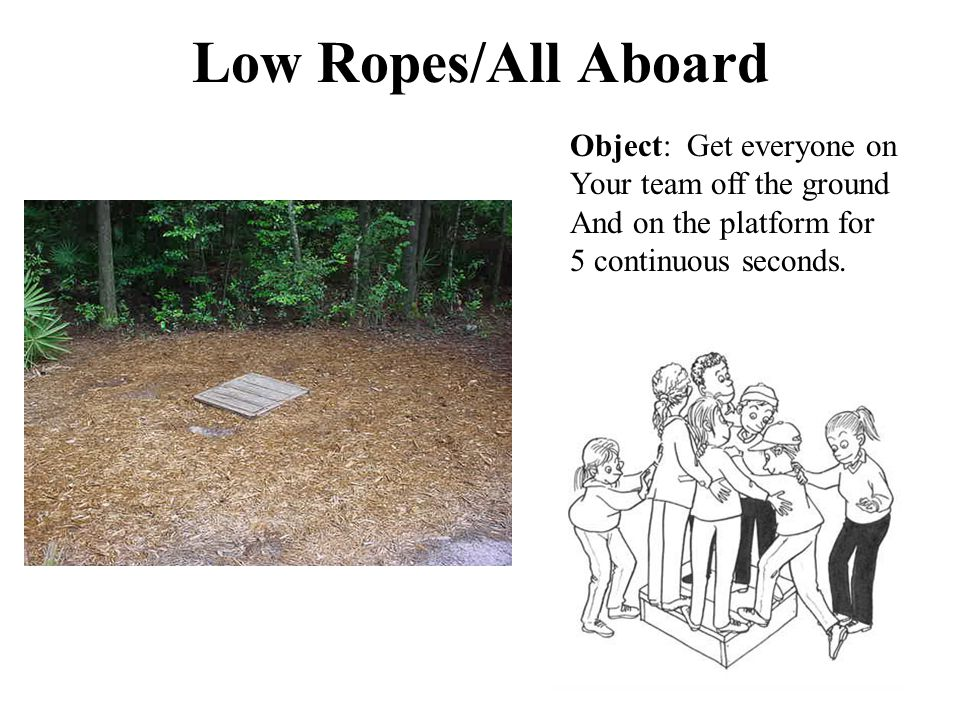 Low Ropes/All Aboard Object: Get everyone on Your team off the ground And on the platform for 5 continuous seconds.