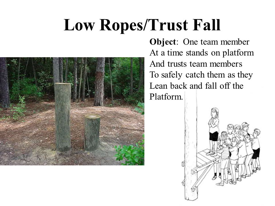 Low Ropes/Trust Fall Object: One team member At a time stands on platform And trusts team members To safely catch them as they Lean back and fall off the Platform.