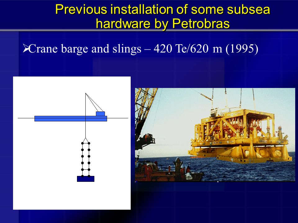  MODU/drilling riser – 240 Te/940 m (2001) Previous installation of some subsea hardware by Petrobras