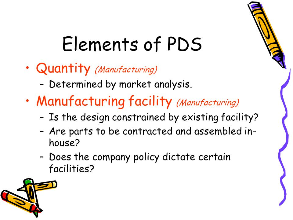 Elements of PDS Quantity (Manufacturing) –Determined by market analysis.