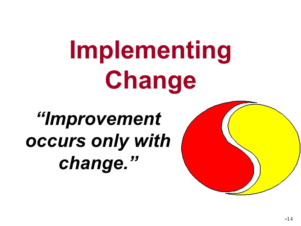 -14 Implementing Change Improvement occurs only with change.