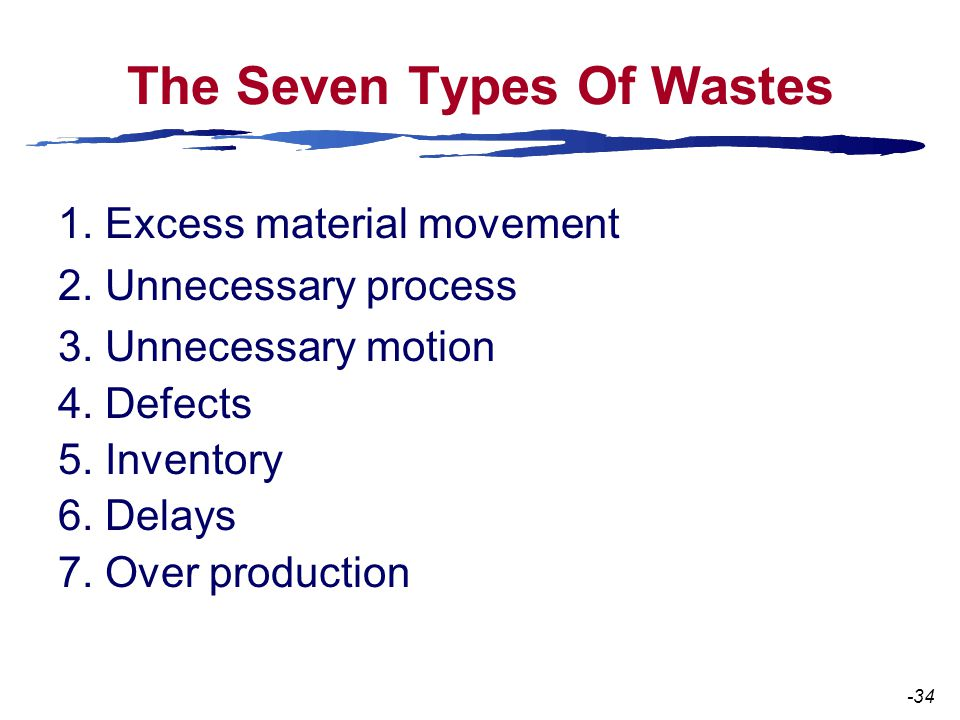 The Seven Types Of Wastes 1. Excess material movement 2.