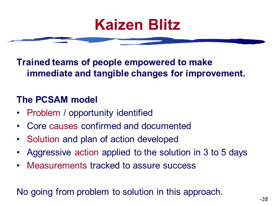 Kaizen Blitz Trained teams of people empowered to make immediate and tangible changes for improvement.