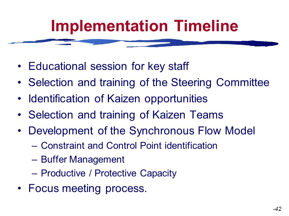 Implementation Timeline Educational session for key staff Selection and training of the Steering Committee Identification of Kaizen opportunities Selection and training of Kaizen Teams Development of the Synchronous Flow Model –Constraint and Control Point identification –Buffer Management –Productive / Protective Capacity Focus meeting process.