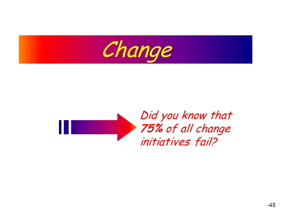 - 45 Did you know that 75% of all change initiatives fail? Change