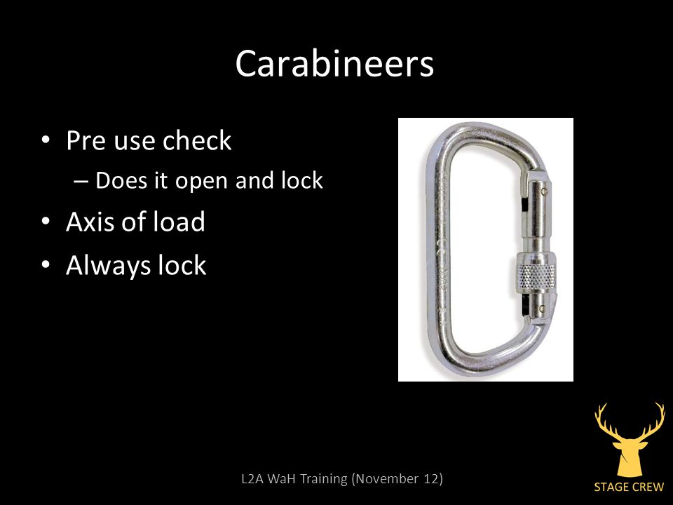L2A WaH Training (November 12) Carabineers Pre use check – Does it open and lock Axis of load Always lock