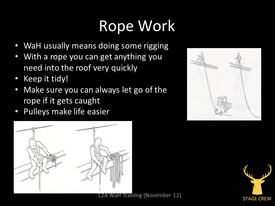 L2A WaH Training (November 12) Rope Work WaH usually means doing some rigging With a rope you can get anything you need into the roof very quickly Keep it tidy.