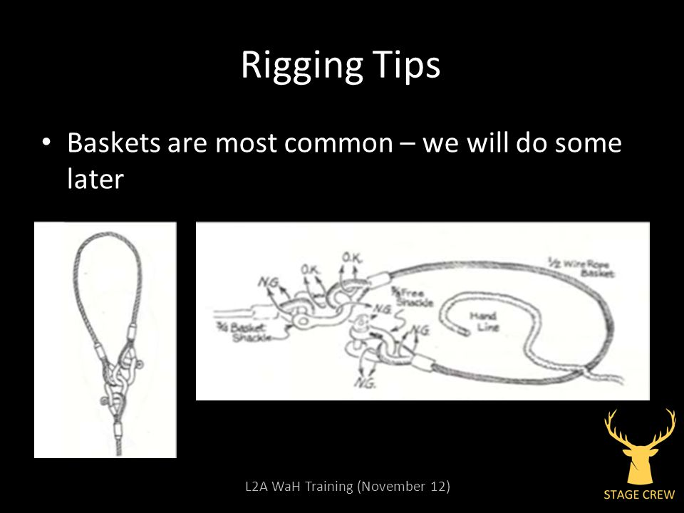 L2A WaH Training (November 12) Rigging Tips Baskets are most common – we will do some later