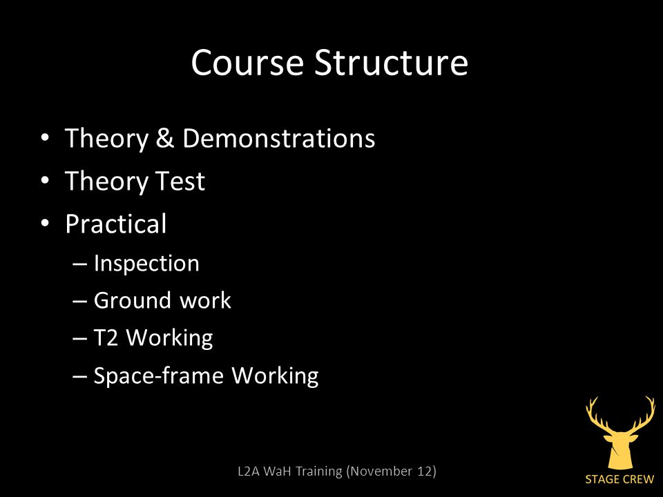 L2A WaH Training (November 12) Course Structure Theory & Demonstrations Theory Test Practical – Inspection – Ground work – T2 Working – Space-frame Wo