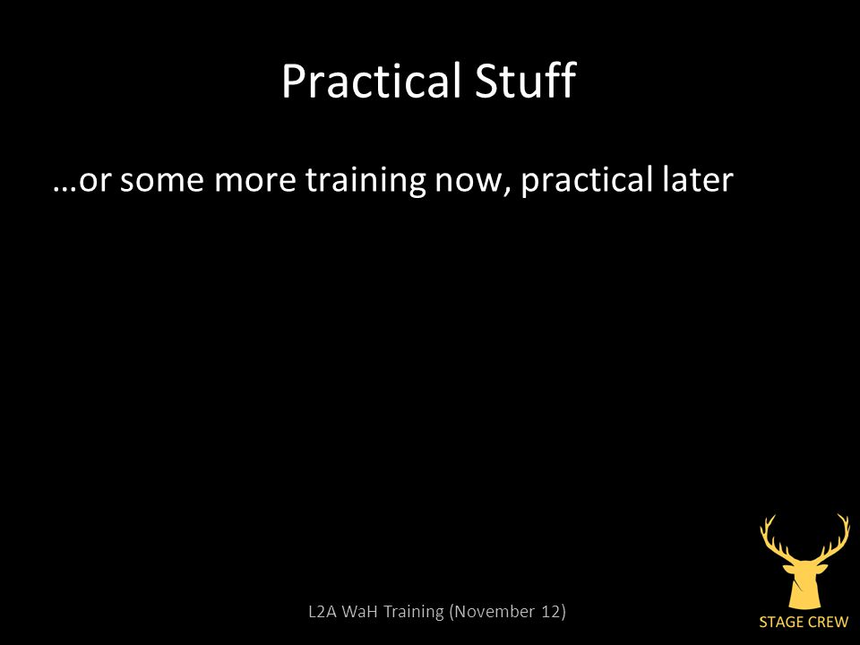 L2A WaH Training (November 12) Practical Stuff …or some more training now, practical later