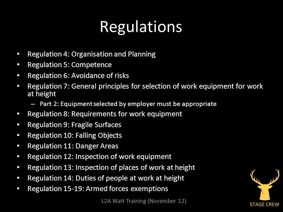 L2A WaH Training (November 12) Regulations Regulation 4: Organisation and Planning Regulation 5: Competence Regulation 6: Avoidance of risks Regulatio