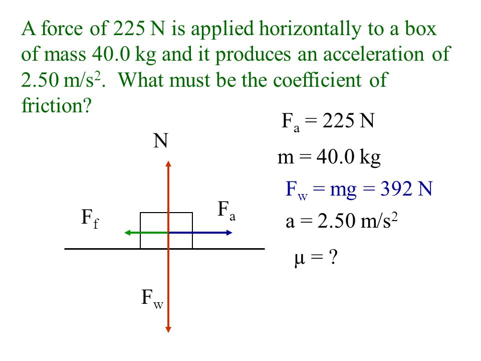 N = F w - F v sinø = F v /F a F v = sinø(F a ) = sin(30.0˚)(260 N) = 130 N N = 450 N - 130 N = 320 N µ = F f N = 225 N 320 N =.703