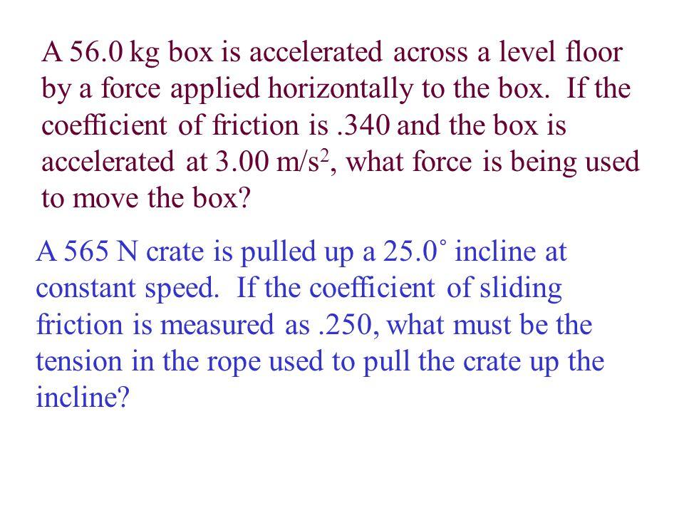 N = F w - F v F v = sinø(F a ) = sin(28.5˚)(555 N) = 265N N = 1230 N - 265 N = 965 N µ = F f N = 300 N 965 N =.311