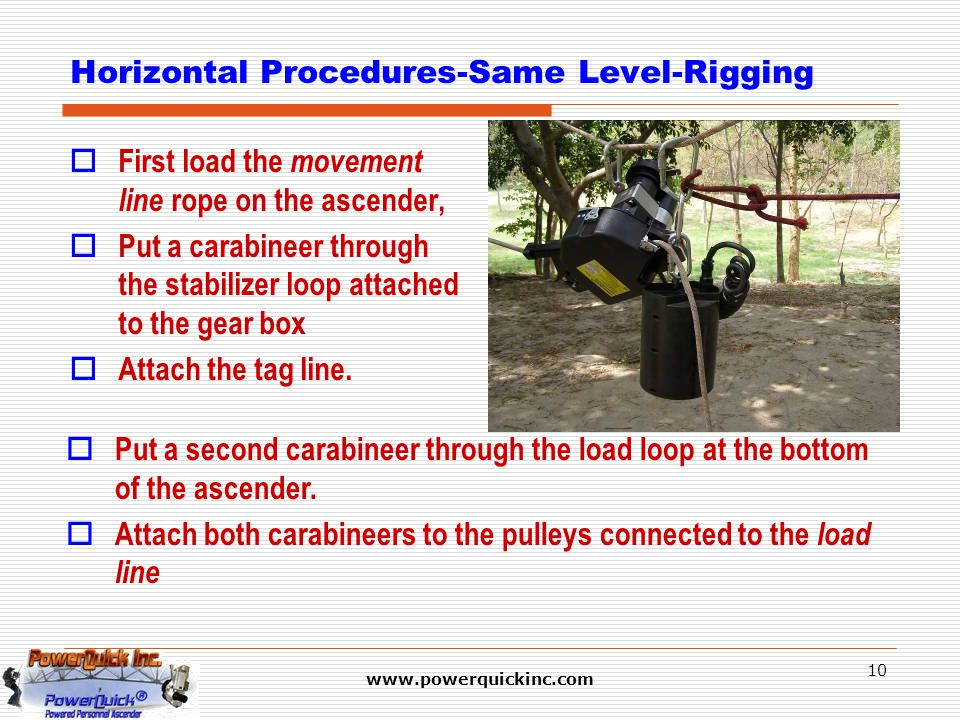 www.powerquickinc.com 10 Horizontal Procedures-Same Level-Rigging  First load the movement line rope on the ascender,  Put a carabineer through the