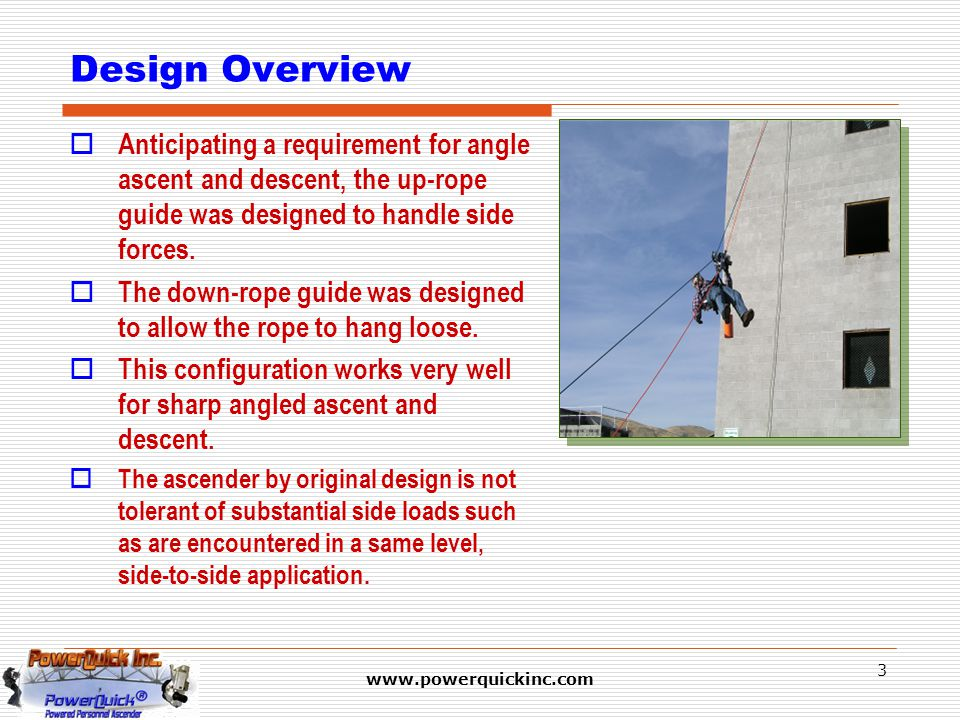 www.powerquickinc.com 3 Design Overview  Anticipating a requirement for angle ascent and descent, the up-rope guide was designed to handle side force