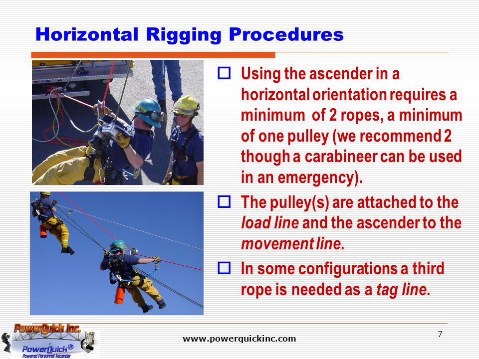 www.powerquickinc.com 7 Horizontal Rigging Procedures  Using the ascender in a horizontal orientation requires a minimum of 2 ropes, a minimum of one