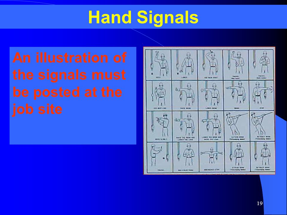 19 An illustration of the signals must be posted at the job site Hand Signals
