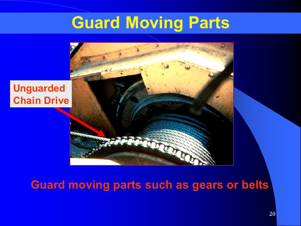 20 Guard Moving Parts Unguarded Chain Drive Guard moving parts such as gears or belts