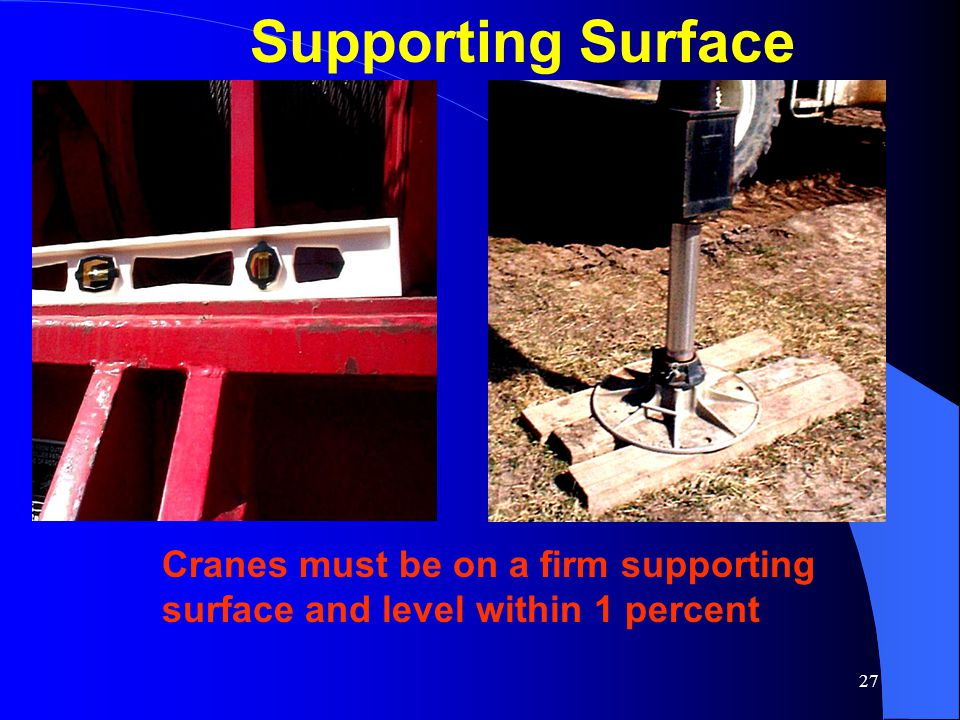 27 Supporting Surface Cranes must be on a firm supporting surface and level within 1 percent